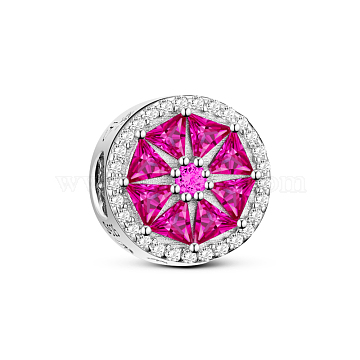 TINYSAND 925 Sterling Silver Elegant Blooming Flower European Beads, with Cubic Zirconia, Platinum, Deep Pink, 12.15x9.25mm, Hole: 4.61mm(TS-C-206)