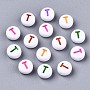 Opaque White Acrylic Beads, Flat Round with Mixed Color Letter, Letter.T, 7x3.5mm, Hole: 1.2mm; about 4000pcs/500g