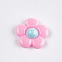 Resin Cabochons, Flower, Hot Pink, 20x20~21x5~6mm