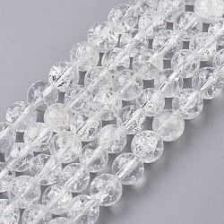 """Naturelles craquements perle de cristal brins, rond, 8mm, trou: 1mm; environ 51 pcs/chapelet, 15.1"""" (385 mm)(G-G945-13-8mm)"""