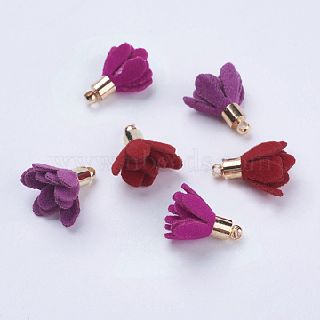 Suede Cord Flower Pendants, with Brass Findings, Golden, Mixed Color, 17x13mm, Hole: 1mm(X-KK-K192-05)