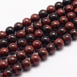 """Acajou naturel chapelets de perles en obsidienne, rond, 4mm, trou: 1mm; environ 93 pcs/chapelet, 15.5""""(G-K153-B17-4mm)"""
