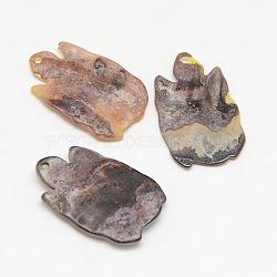 pendentifs coquille mer, tortue, tan, 19x12x2 mm, trou: 1 mm(X-SSHEL-I009-04A)