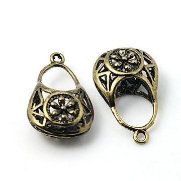 Brass Pendants, Bag, Antique Bronze Color, 24.5mm long, 15mm wide, 9mm thick, hole: 2mm(EC169Y-AB)
