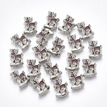 Alloy Cabochons, with Enamel, Christmas Reindeer/Stag, Coconut Brown, Platinum, 9x6.5x1.5mm(PALLOY-T054-148)