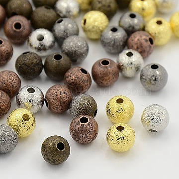 Brass Textured Beads, Cadmium Free & Lead Free, Round, Mixed Color, 6mm, Hole: 1mm(X-KK-EC248-M)