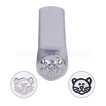 BENECREAT Iron Metal Stamps, for Imprinting Metal, Wood, Leather, Tiger Pattern, 64.5x10x10mm(AJEW-BC0005-19B)