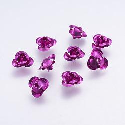 100 pcs aluminium minuscule fleur rose métal séparateurs perles en forme de décoration de téléphone, blueviolet, 10x6.5mm, Trou: 1mm(X-AF10mm015Y)
