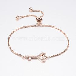 """Bracelets bolo réglables en laiton, Bracelets coulissants, avec zircone et chaînes, clé, or rose, 10-1/4"""" (260 mm)(BJEW-P200-10RG)"""
