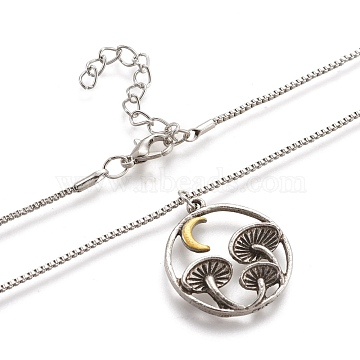 Alloy Pendant Necklaces, with Lobster Claw Clasps, Ring with Mushroom, Lead Free & Cadmium Free, Antique Silver & Platinum, 18.31 inches(46.5cm)(NJEW-F278-01AS-RS)