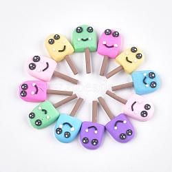 Cabochons en pâte polymère manuels, glace avec sourire, couleur mixte, 34~40x16~18x6~8mm(CLAY-T015-04)