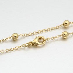 Brass Round Ball Link Chain Necklace Making, with Brass Lobster Claw Clasps, Light Gold, 16.9 inches(MAK-J009-24KCG)