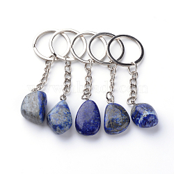 Natural Lapis Lazuli Keychain, with Iron Findings, Platinum, 85~94mm(X-G-Q484-D06)