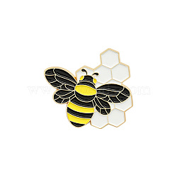 Creative Zinc Alloy Brooches, Enamel Lapel Pin, with Iron Butterfly Clutches or Rubber Clutches, Bee, Golden, Colorful, 32x35mm, Pin: 1mm(JEWB-S010-012)