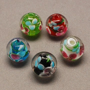 Handmade Lampwork Beads, Round, Mixed Color, 12mm, Hole: 2mm(X-LAMP-R103-12mm-M)