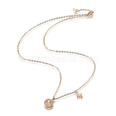 Brass Micro Pave Clear Cubic Zirconia Double Letter Pendant Necklaces(NJEW-Z010-13)-4