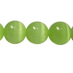 Perles d'oeil de chat, rond, lightgreen, 6mm, Trou: 1mm(X-CER25)