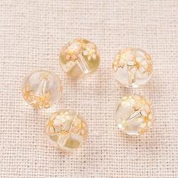 Image de fleur en verre imprimé perles rondes, clair, 10mm, Trou: 1mm(GLAA-J089-10mm-A06)