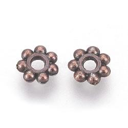Séparateur perles en plastique CCB, fleur, cuivre rouge, 6x2mm, Trou: 2mm(CCB-J029-83R)