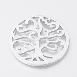 pendentifs en aluminium pour l'environnement, pendentifs découpés au laser, rond et plat avec un arbre, argent, 55x2~2.5 mm(ALUM-Q001-56B)