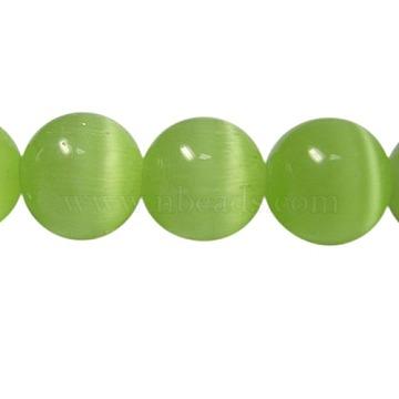Cat Eye Beads, Round, Light Green, 6mm, Hole: 1mm(X-CER25)