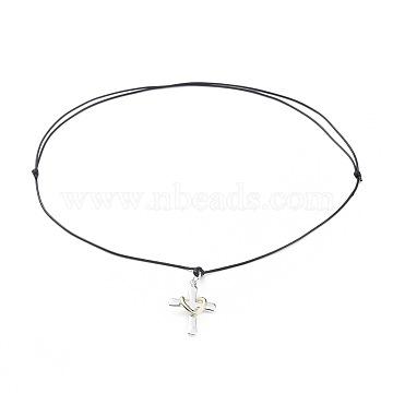 colliers pendentif en laiton réglable unisexe, avec cordon de polyester ciré, coeur et croix, or et argent, noir, 19.68 29.9 cm)(NJEW-JN02541-01)