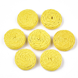 Handmade Woven Beads, Paper Imitation Raffia Covered with Wood, No Hole/Undrilled, Flat Round, Yellow, 25~28x7~8mm(X-WOVE-T006-137C)