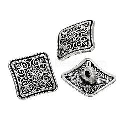Boutons de tige en alliage de zinc métal, carrée, argent antique, 13x6.6mm, Trou: 2.2mm(X-BUTT-N0002-32AS)