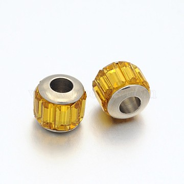 Faceted Column Glass European Beads, Large Hole Drum Beads, with 304 Stainless Steel Core, Stainless Steel Color, PeachPuff, 7x9mm, Hole: 5mm(GPDL-N002-7mm-10)