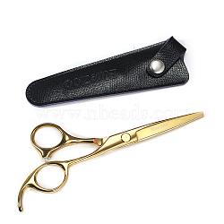 Ciseaux de coiffure en acier inoxydable, avec gaine en cuir, façonner la coiffure outil de cosmétique de toilettage, or, 16 cm(MRMJ-T008-010A)