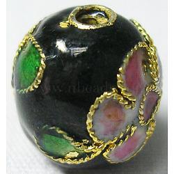 perles en cloisonné main, arrondir, noir, 10 mm de diamètre, trou: environ 1.5 mm(X-CLB10mmC03)