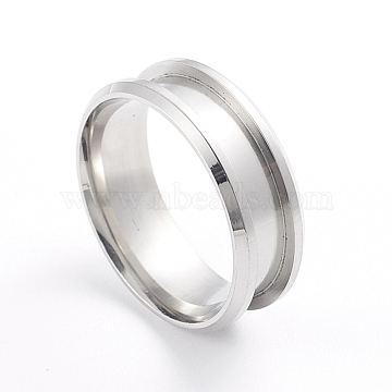 201 Stainless Steel Grooved Finger Ring Settings, Ring Core Blank, for Inlay Ring Jewelry Making, Stainless Steel Color, Size 10, 20mm, 7.5mm(MAK-WH0007-16P)