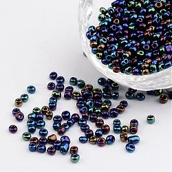 8/0 Electroplated Iris Round Glass Seed Beads, PrussianBlue, 3mm, Hole: 1mm; about 1101pcs/50g(X-SEED-A009-3mm-604)