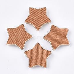 Flocky ccb boutons en plastique, 1-trou, étoiles, corail, 38x40x9mm, Trou: 3x4.5mm(BUTT-T003-09E)