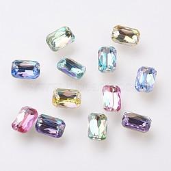 Cabochons de strass en K9 verre , imitation cristal autrichien, dos et dos plaqués, facette, rectangle, dos plaqué, couleur mixte, 6x4x2mm(X-GLAA-D001-12)