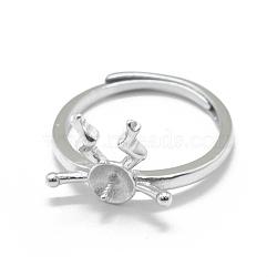 Composants de bague réglables en 925 argent sterling, pour la moitié de perles percées, platine, taille 7, 17 mm; broches: 0.7 mm(STER-L055-025P)