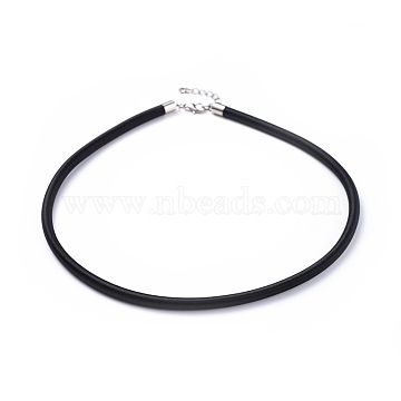Silk Necklace Cord, with Brass Lobster Claw Clasp and Extended Chain, Platinum, Black, 18 inches(X-R28ER021)