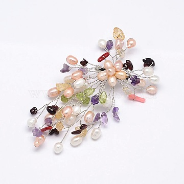 Colorful Gemstone Safety Brooch