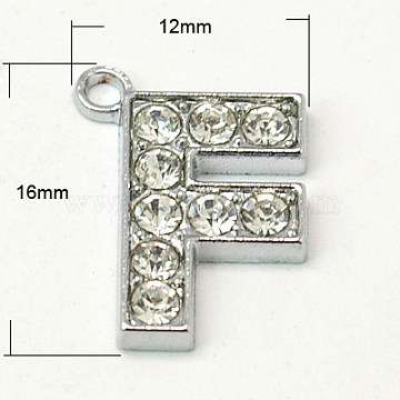 Alloy Letter Pendants, with Grade A Rhinestone, Platinum Color, Citrine, 16~18x12~17x2mm, Hole: 1mm(X-RB-C1416-F)