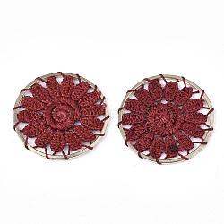 подвесные украшения из полиэстера, с железом выводы, плоские круглые с цветком, светлое золото, Darkred, 33x2 mm(FIND-S283-07C)