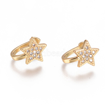 Golden Plated Brass Micro Pave Cubic Zirconia Cuff Earrings, Long-Lasting Plated, Star, Clear, 11x9x1.2~8.8mm(X-EJEW-L244-39G)