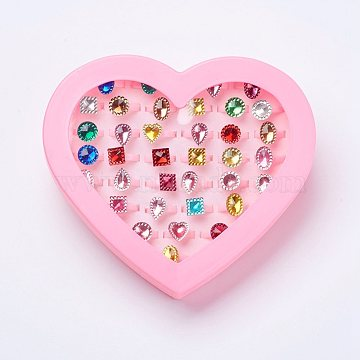 Acrylic Kids Rings, Mixed Style, Mixed Color, US Size 3(14mm)(X-RJEW-P058-01)