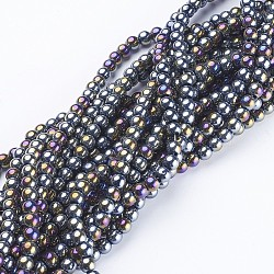 Glass Beads Strands, Round, Black, AB Color Plated, The beads about 4mm in diameter, hole: 1mm, about 80pcs/strand, about 13 inches/strand(X-GR4mm27Y-AB)
