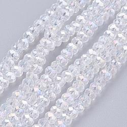 perles en verre plaquent brins, ab couleur plaquée, facettes, plat rond, clair ab, 3.5~4x2.5~3 mm; trou: 0.5 mm; sur 140 pcs / brin, 15.5(X-EGLA-R048-3mm-01)