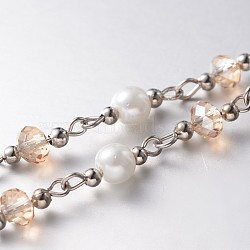 Handmade Faceted Rondelle Glass Beads Chains for Necklaces Bracelets Making, with Glass Pearl Beads, Iron Spacer Beads and Iron Eye Pin, Unwelded, Platinum, PeachPuff, 39.3 inches, about 60pcs/strand(X-AJEW-JB00122-04)