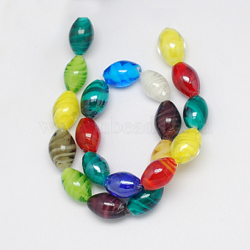 Handmade Lampwork Beads, Pearlized, Oval, Mixed Color, 17x12mm, Hole: 1mm(X-LAMP-S003-5)