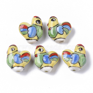 Handmade Porcelain Beads, Famille Rose Style, Rooster, Colorful, 18.5x20~22x9~10mm, Hole: 1.6mm(X-PORC-N004-60)