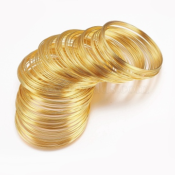 Steel Memory Wire,for Collar Necklace Making,Nickel Free,Golden,115mm inner diameter,20 Gauge,0.8mm thick. 500 circles/1000g(TWIR-R006-0.8x115-G-NF)