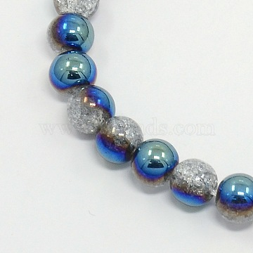 Round Half Electroplate Crackle Quartz Beads Strands, Synthetic, Blue, 8mm, Hole: 1mm, about 53pcs/strand, 15.7 inches(X-G-P060-8mm-01)