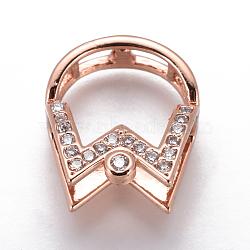 Pendentifs en laiton, avec zircons, pour la moitié de perles percées, clair, or rose, 17x14.5x10mm, trou: 3.4~4x3~3.5 mm; diamètre intérieur: 6 mm; goupille: 1mm(KK-L177-12RG)